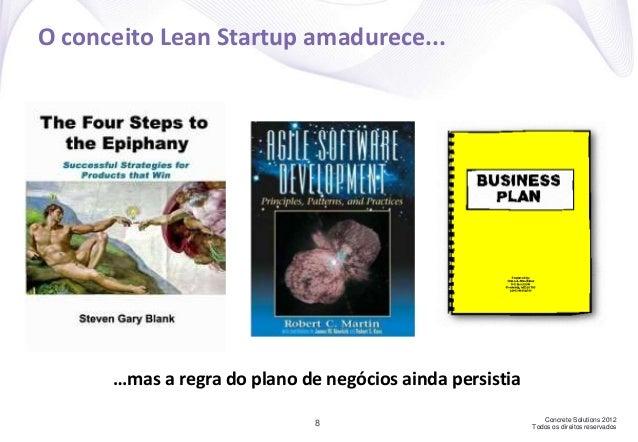 Concrete Solutions 2012 Todos os direitos reservados8 O conceito Lean Startup amadurece... …mas a regra do plano de negóci...