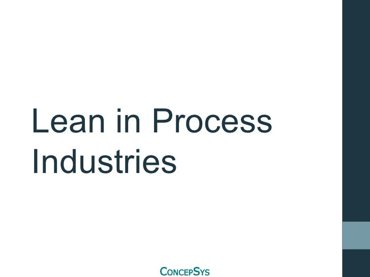 Lean in Process Industries