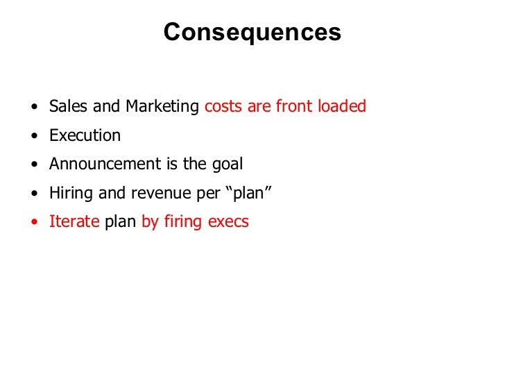 Consequences <ul><li>Sales and Marketing  costs are front loaded </li></ul><ul><li>Execution </li></ul><ul><li>Announcemen...