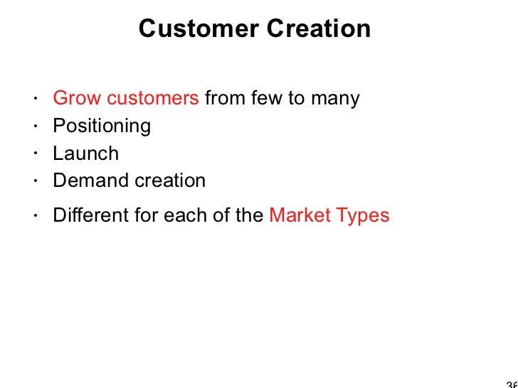 Customer Creation  Big Ideas <ul><li>Grow customers  from few to many </li></ul><ul><li>Positioning </li></ul><ul><li>Laun...