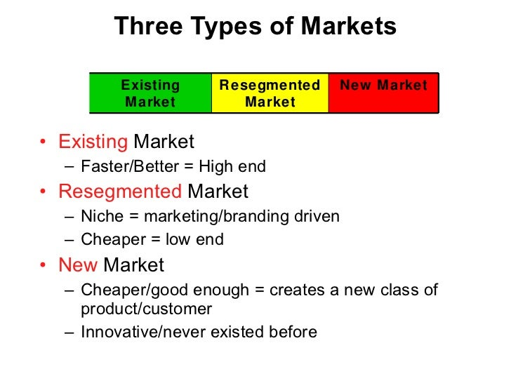 Three Types of Markets <ul><li>Existing  Market </li></ul><ul><ul><li>Faster/Better = High end </li></ul></ul><ul><li>Rese...