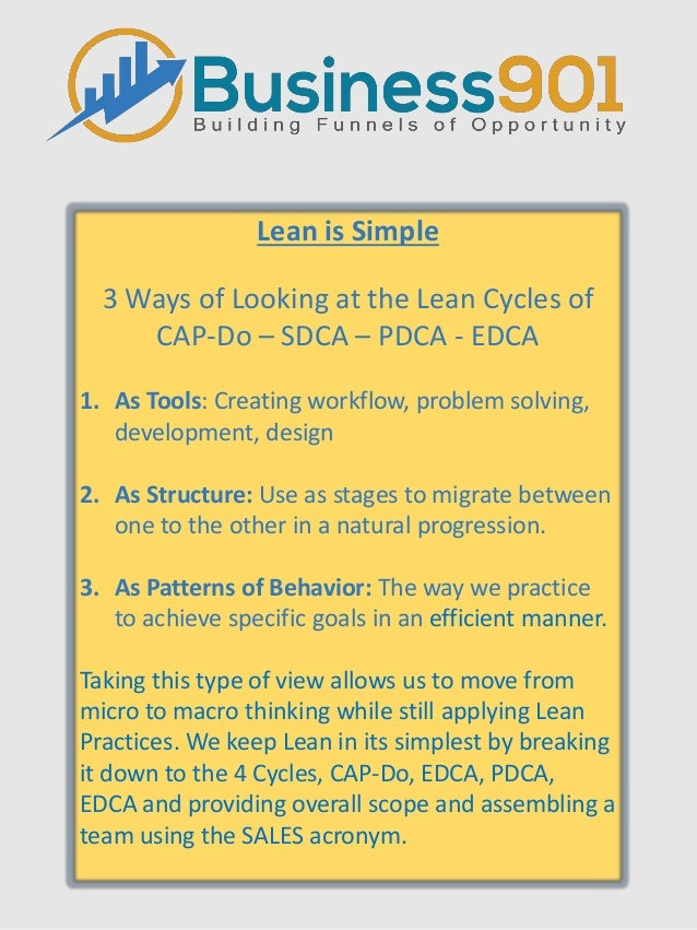 Lean is Simple 3 Ways of Looking at the Lean Cycles of CAP-Do – SDCA – PDCA - EDCA 1. As Tools: Creating workflow, problem...