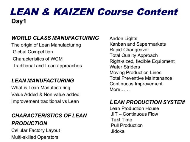 LEAN & KAIZEN Course Content Day1  WORLD CLASS MANUFACTURING The origin of Lean Manufacturing Global Competition Character...