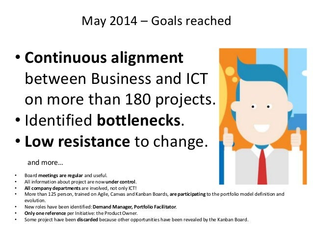 May 2014 – Goals reached • Board meetings are regular and useful. • All information about project are now under control. •...