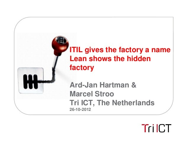 ITIL gives the factory a nameLean shows the hiddenfactoryArd-Jan Hartman &Marcel StrooTri ICT, The Netherlands26-10-2012