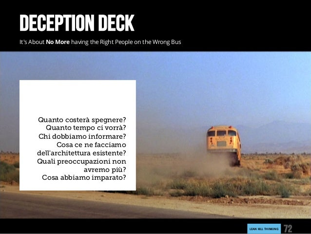 LEANKILLTHINKING 72 DECEPTION DECK It's About No More having the Right People on the Wrong Bus Quanto costerà spegnere? ...