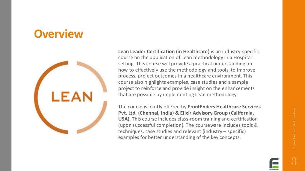 lean certification healthcare leader program