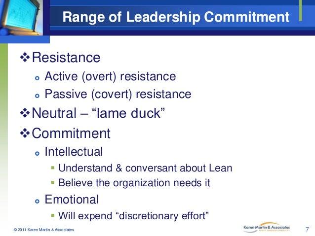 "Range of Leadership Commitment Resistance    Active (overt) resistance Passive (covert) resistance  Neutral – ""lame du..."