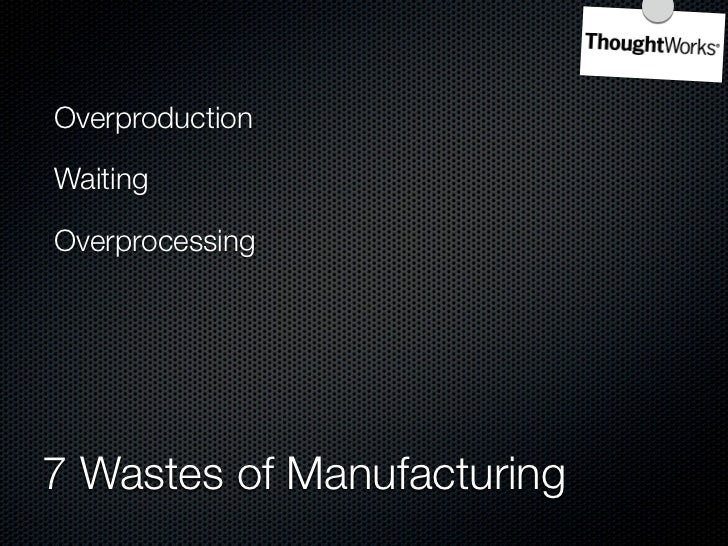 Overproduction    Inventory  Waiting           Motion  Overprocessing    Defects  Unnecessary Transportation    7 Wastes o...