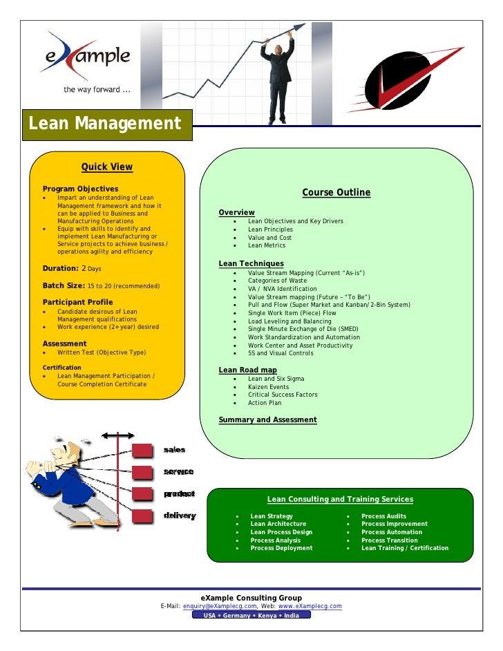 Lean Management Excellence Brochure