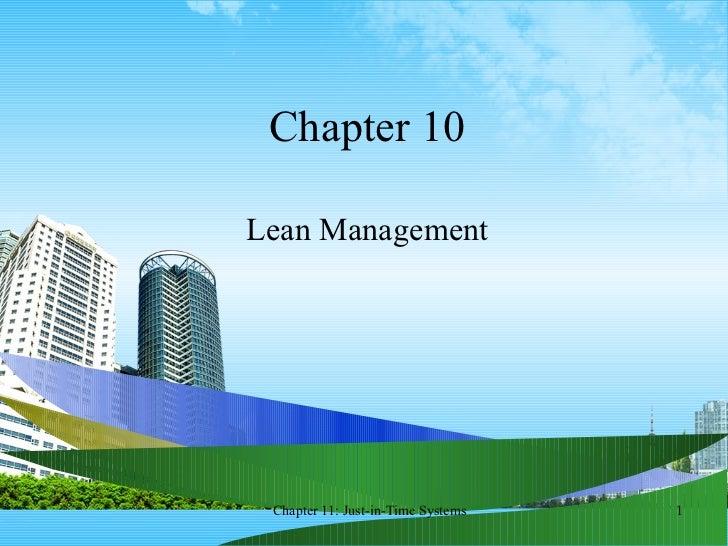 Chapter 10 Lean Management