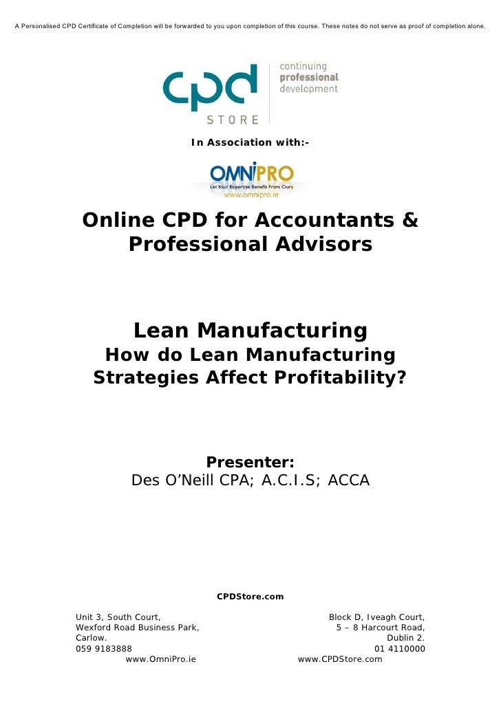 Lean Manufacturing - How Do Lean Manufacturing Strategies Affect Profitability?