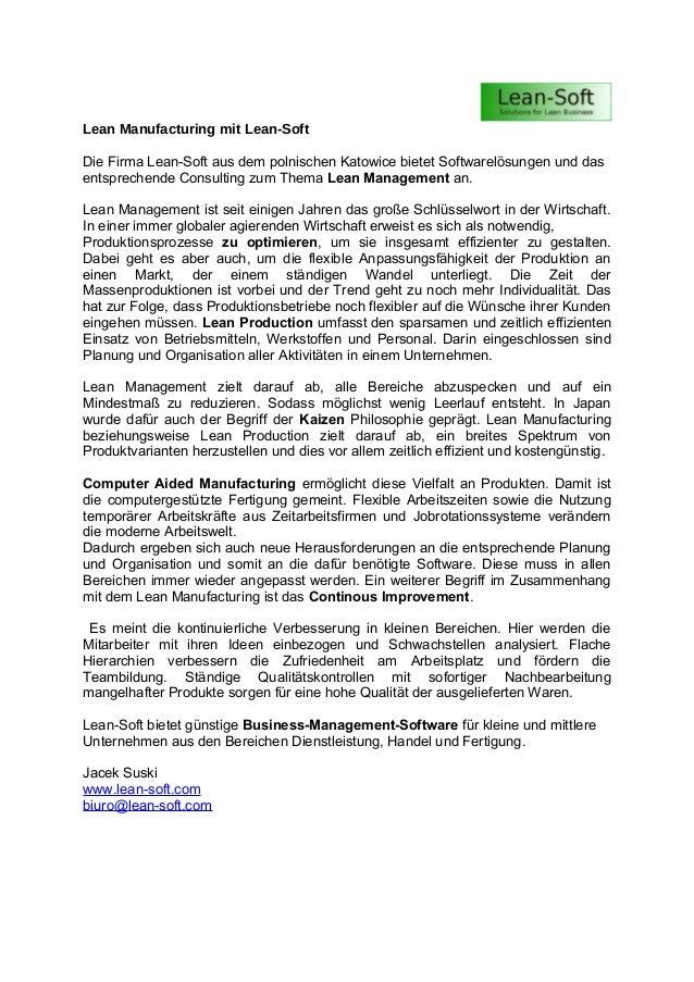 Lean Manufacturing mit Lean-Soft Die Firma Lean-Soft aus dem polnischen Katowice bietet Softwarelösungen und das entsprech...