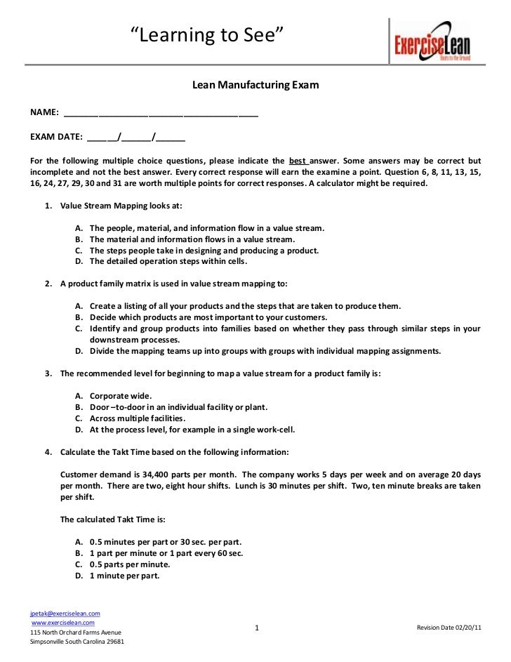 Lean Manufacturing Exam Questions Mar 2011