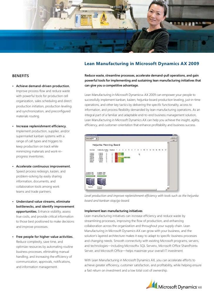 Lean Manufacturing in Microsoft Dynamics AX 2009  Benefits                                         Reducewaste,streamlin...