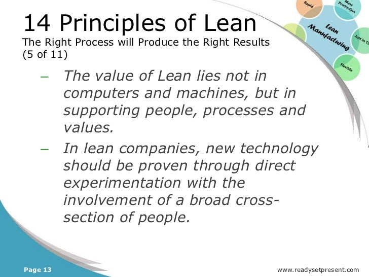 14 Principles of LeanContinuously Solving Root Problems DrivesOrganizational Learning (1 of 23)Principle 14: Become a lea...