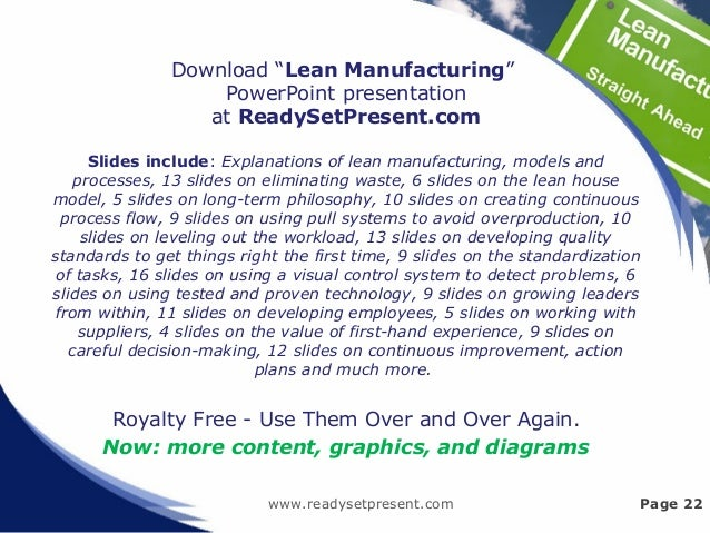 """www.readysetpresent.com Page 22 Download """"Lean Manufacturing"""" PowerPoint presentation at ReadySetPresent.com Slides includ..."""