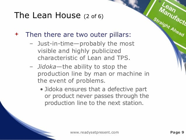 The Lean House (2 of 6)  Then there are two outer pillars: – Just-in-time—probably the most visible and highly publicized...