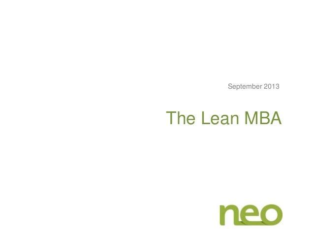 The Lean MBA September 2013
