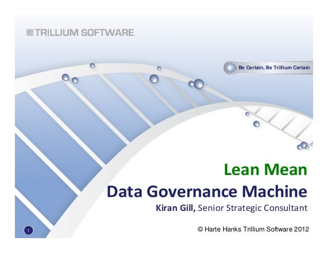 Be Certain, Be Trillium Certain© Harte Hanks Trillium Software 2012Lean MeanData Governance MachineKiran Gill, Senior Stra...