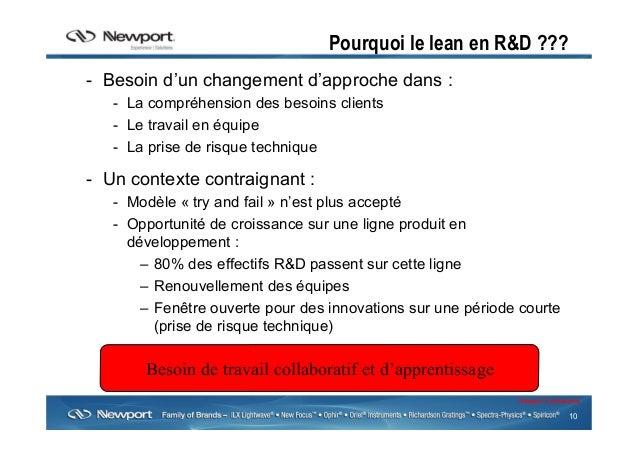 10 Newport Confidential Pourquoi le lean en R&D ??? - Besoin d'un changement d'approche dans : - La compréhension des be...