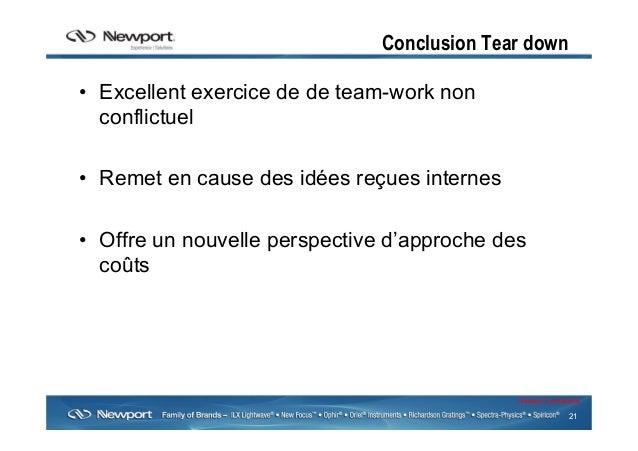 21 Newport Confidential Conclusion Tear down • Excellent exercice de de team-work non conflictuel • Remet en cause des i...