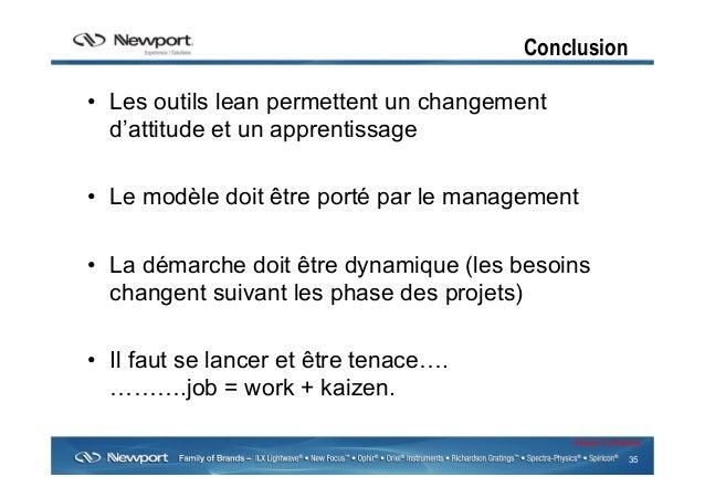 35 Newport Confidential Conclusion • Les outils lean permettent un changement d'attitude et un apprentissage • Le modèle...