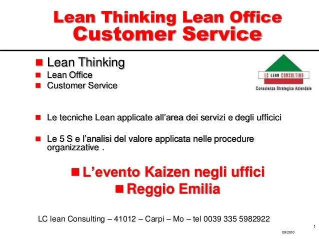 Lean Thinking Lean Office Customer Service  Lean Thinking  Lean Office  Customer Service  Le tecniche Lean applicate a...