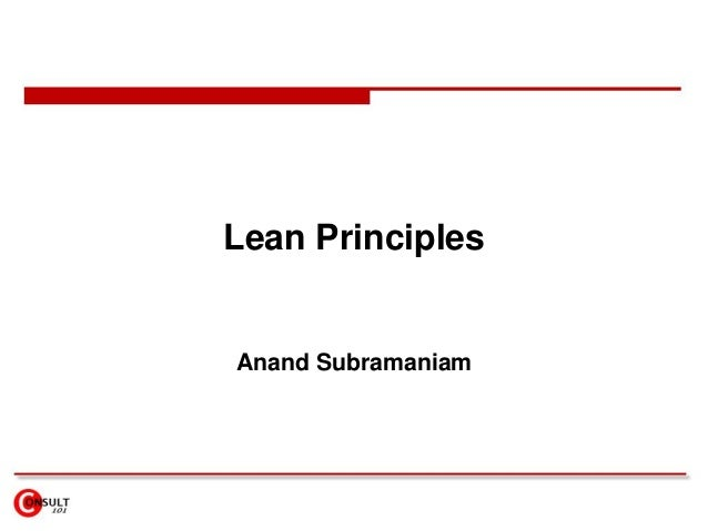Lean Principles Anand Subramaniam
