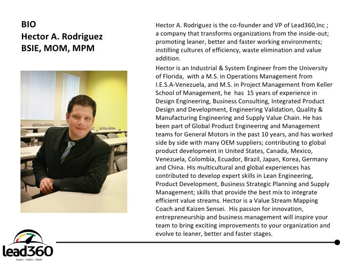 BIO                   Hector A. Rodriguez is the co-founder and VP of Lead360,Inc ;                       a company that t...