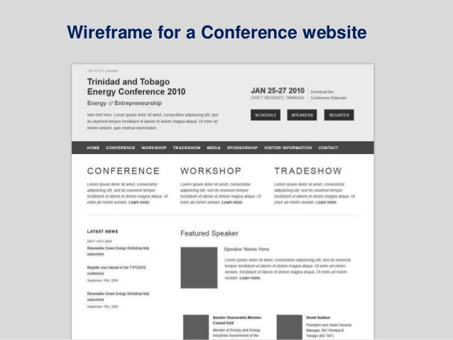 Wireframe for a Conference website