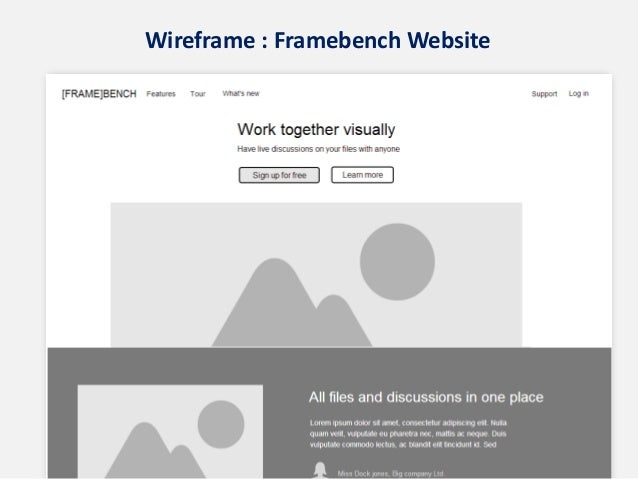 Wireframe : Framebench Website