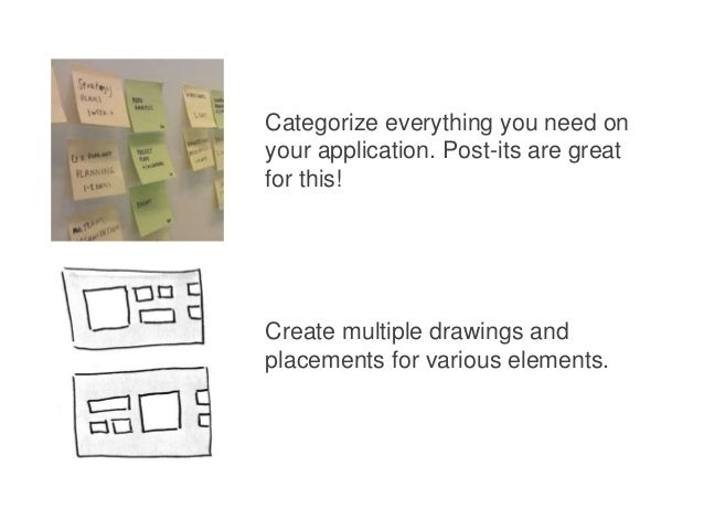 Categorize everything you need on your application. Post-its are great for this!  Create multiple drawings and placements ...
