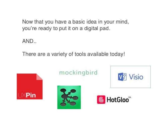 Now that you have a basic idea in your mind, you're ready to put it on a digital pad.  AND.. There are a variety of tools ...