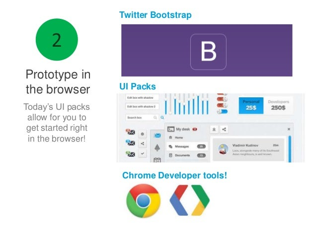 Twitter Bootstrap  Prototype in the browser  UI Packs  Today's UI packs allow for you to get started right in the browser!...