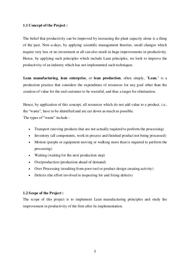 Lean Manufacturing Report