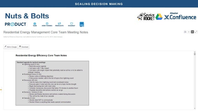 SCALING DECISION MAKING  Nuts & Bolts