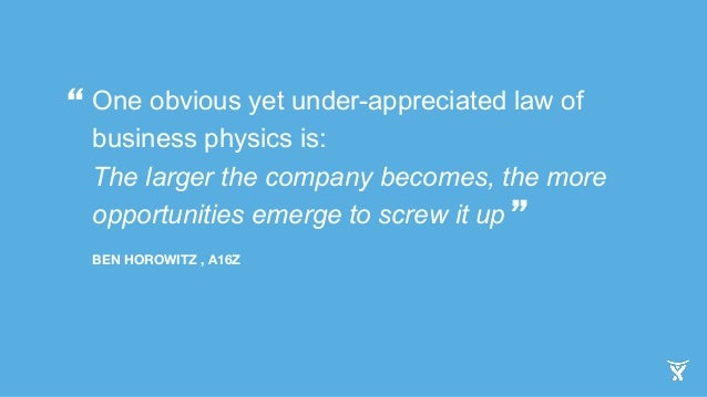 One obvious yet under-appreciated law of  business physics is:  The larger the company becomes, the more  opportunities em...