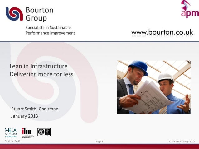 Lean in Infrastructure   Delivering more for less    Stuart Smith, Chairman    January 2013APM Jan 2013                  p...