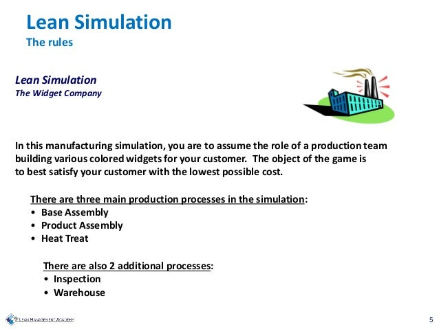 5 Lean Simulation The Widget Company In this manufacturing simulation, you are to assume the role of a production team bui...