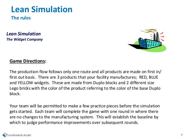 7 Game Directions: The production flow follows only one route and all products are made on first in/ first out basis. Ther...
