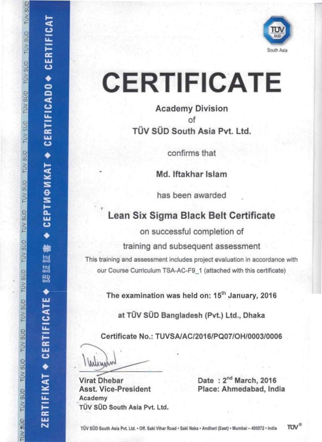 Lean Six Sigma Black Belt Certificate
