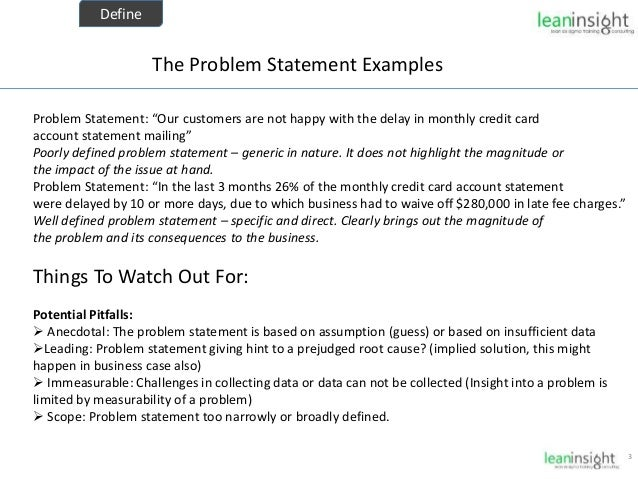 six sigma problem statement
