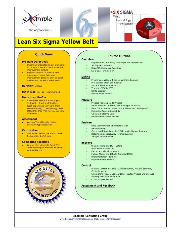 Lean Six Sigma Yellow Belt Certification Brochure