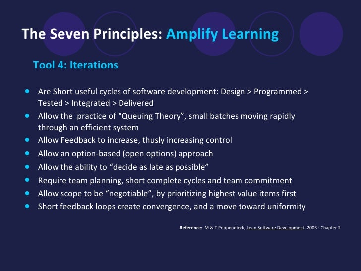 The Seven Principles:  Amplify Learning <ul><li>Tool 4: Iterations </li></ul><ul><li>Are Short useful cycles of software d...