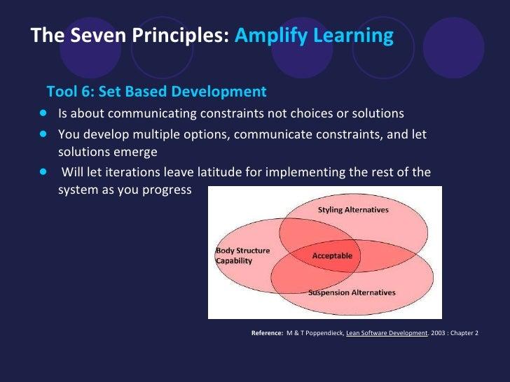 The Seven Principles:  Amplify Learning <ul><li>Tool 6: Set Based Development   </li></ul><ul><li>Is about communicating c...