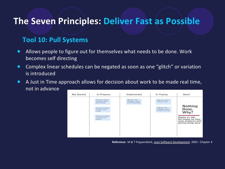 The Seven Principles:   Deliver Fast as Possible <ul><li>Tool 10: Pull Systems   </li></ul><ul><li>Allows people to figure...