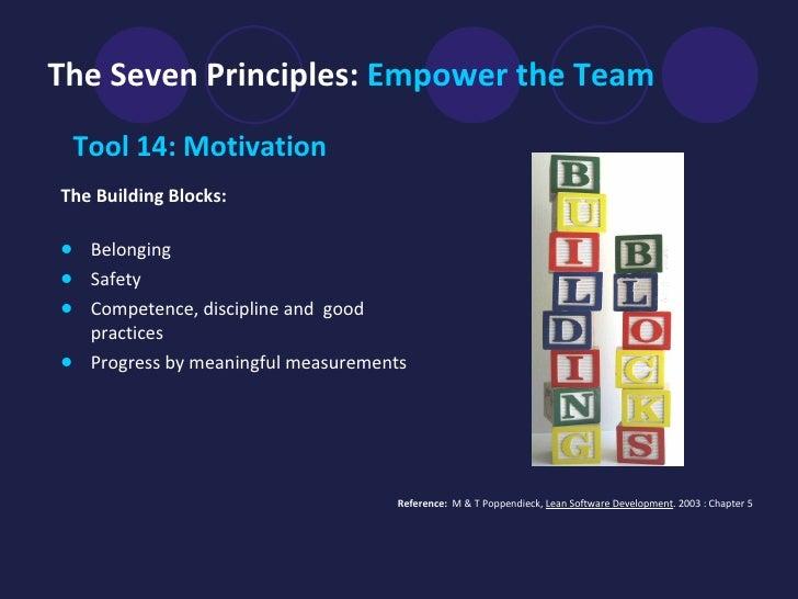 The Seven Principles:  Empower the Team <ul><li>Tool 14: Motivation  </li></ul><ul><li>The Building Blocks:   </li></ul><u...