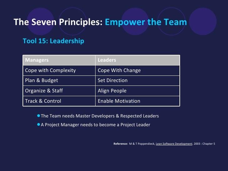 The Seven Principles:  Empower the Team   <ul><li>Tool 15: Leadership </li></ul>Reference:  M & T   Poppendieck,  Lean Sof...