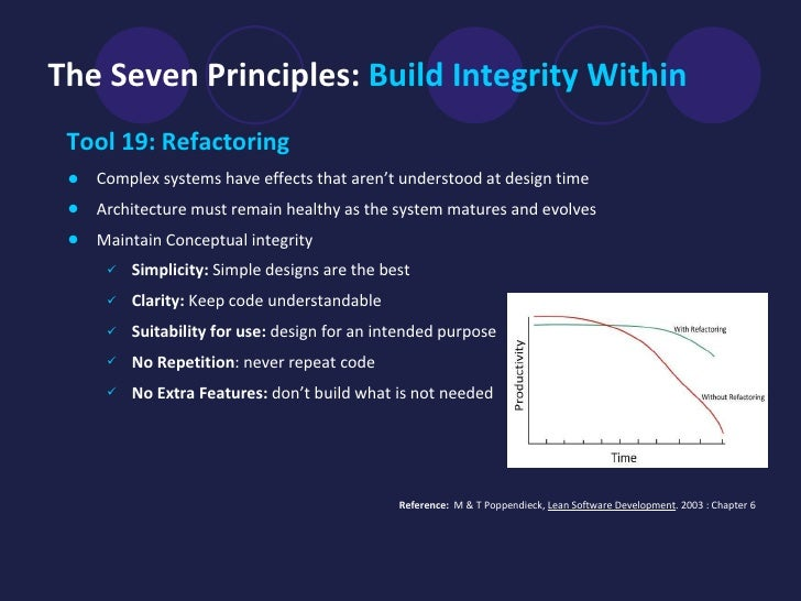 The Seven Principles:  Build Integrity Within <ul><li>Tool 19: Refactoring   </li></ul><ul><li>Complex systems have effect...